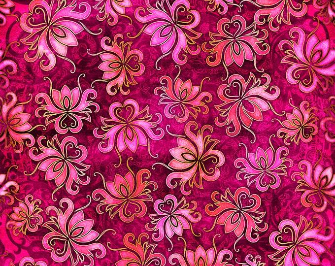 Quilting Treasures - Pandora - Azalea Floral Toss 27185M - Cotton Woven Fabric