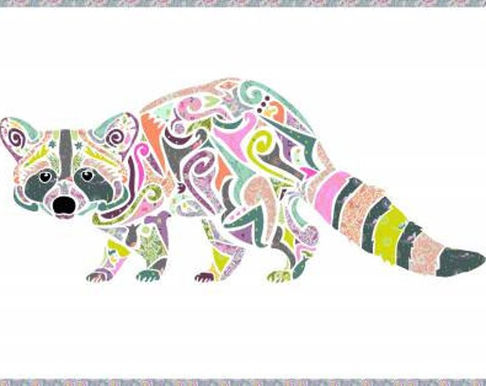 Clearance - Holi Ganesha Laser Cut Kit - Reginald Racoon - Was 65 - Now 49 (Background fabric not included) Fabric