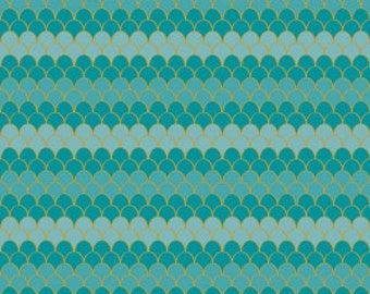 Riley Blake Fabrics - Lets Be Mermaids by Melissa Mortenson -Teal Sparkle Scallops sc7613-teal Cotton Woven Fabric