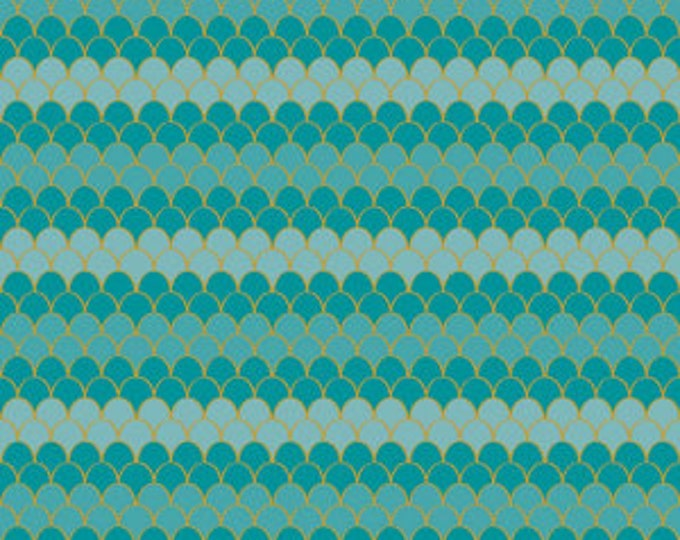 Teal Sparkle Scallops sc7613-teal -- Lets Be Mermaids Cotton Woven by Melissa Mortenson for Riley Blake
