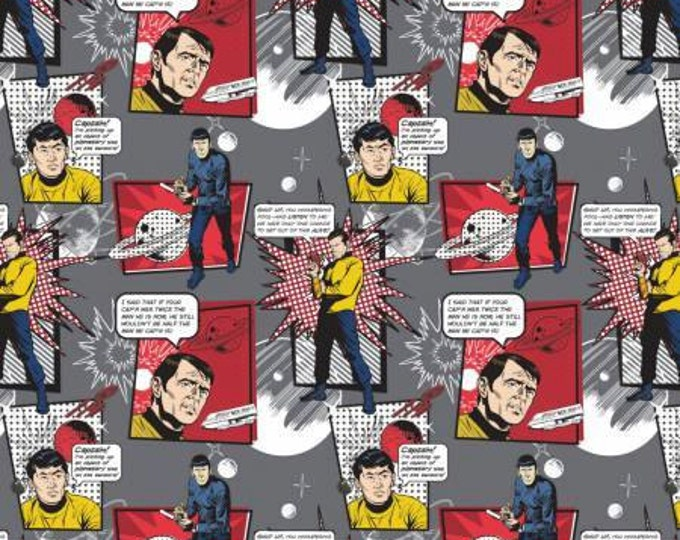 Camelot Fabrics - Star Trek - Iron and Red Star Trek Quotes Comic Characters Cotton Woven Fabric