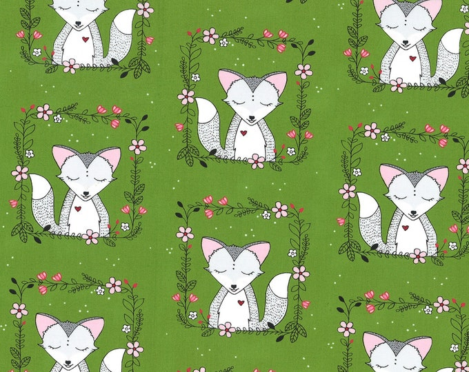 Michael Miller Fabrics - Curiosity by Sandra Clemons - Meadow Fox Frames # DH8570-MEAD- Cotton Woven Fabric