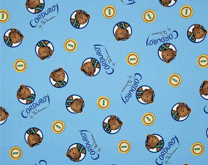 Corduroy Bear and Buttons on Blue Organic Cotton Wovenby Cloud 9