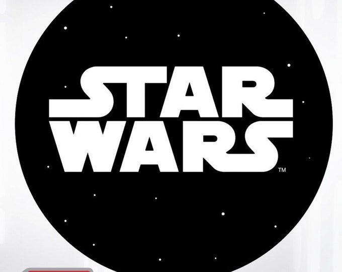 "Fun Stuff - Camelot Fabrics - Ad Fab Adhesive Badge - Star Wars - Star Wars Logo - Adhesive Fabric 3"" Badge #73010421X - 100% Polyester"