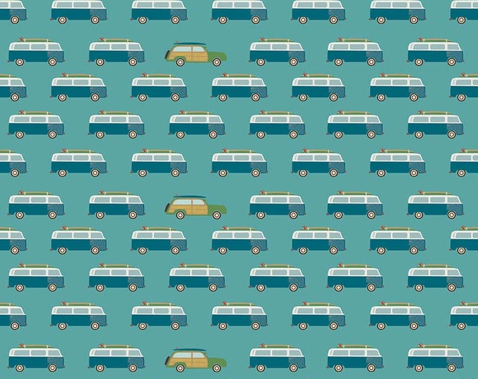 Riley Blake - Offshore 2 - Wagons on Teal c7983-teal Cotton Woven Fabric
