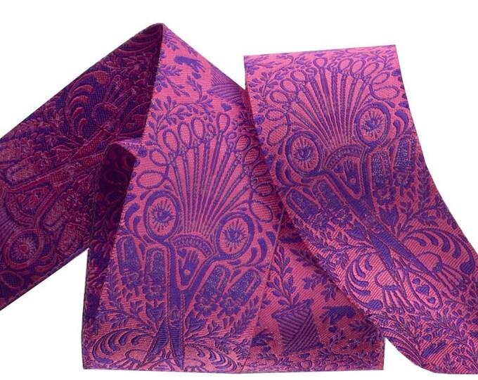 Tula Pink HomeMade Renaissance Ribbon - Priced per yard - 1.5 inch Getting Snippy, Night - TK-55/38mm Col 3 Woven Ribbon