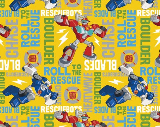 Springs Creative - Transformers - Transformers on Yellow Cotton Woven Fabric