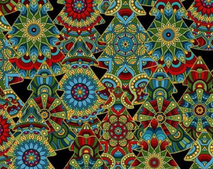 In The Beginning - Celestial Winter by Jason Yenter - Medallion Trees - Black   3ACW-1M Metallic Cotton Woven Fabric