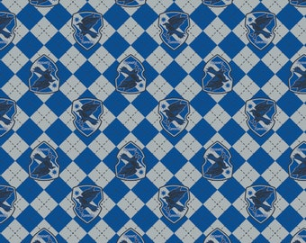 Camelot Fabric - Licensed JK Rowlings Harry Potter -  Blue Argyle Ravenclaw Crest on Flannel # 23800124B-1 100% Cotton Flannel