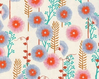 Cotton + Steel Fabric - Santa Fe by Sarah Watts - Hollyhocks Natural Cotton Woven Fabric
