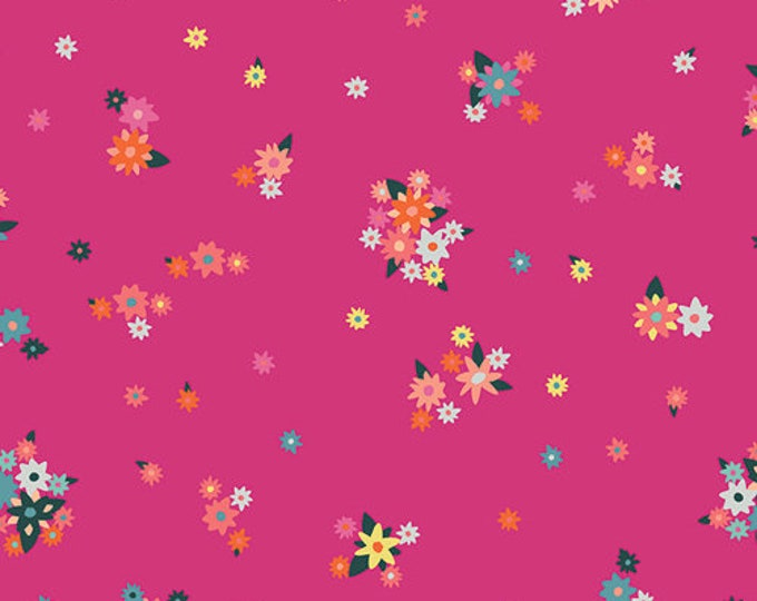 Art Gallery Fabric - Loved to Pieces - Fuchsia Efflorescent - Gentle - Cotton Woven