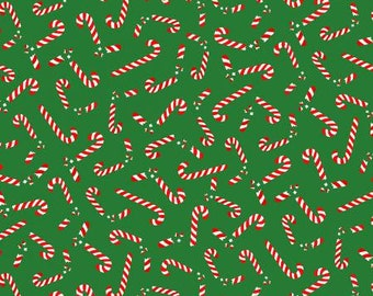Marcus Brothers Fabric - Grumpy Cat Holidays - Broken Candy Canes on Green - Cotton Woven Fabric