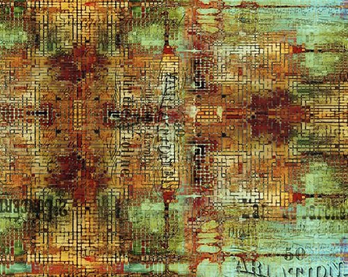 Free Spirit - Eclectic Elements - Abandoned by Tim Holtz - Rusted Patina - Patina PWTH126.PATINA - Cotton Woven Fabric