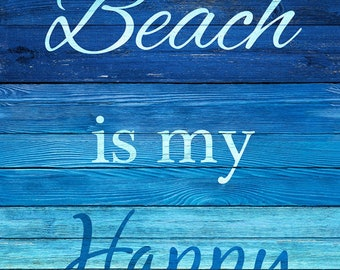 """Timeless Treasures - 24"""" Panel Turquoise The Beach is my Happy Place  # C6742-TURQ Cotton Woven Fabric"""