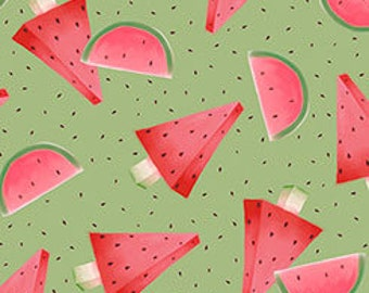 Quilting Treasures - Melon Drop - Santoro Gorjus Watermelon on Green Cotton Woven Fabric