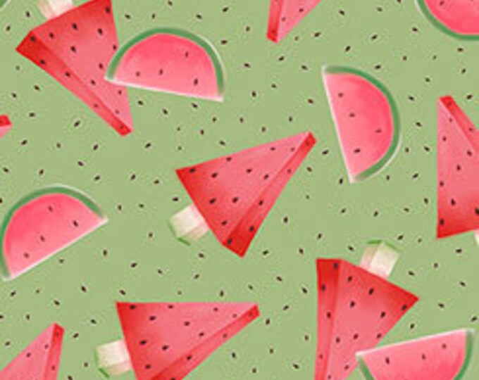 Santoro Gorjus Watermelon on Green Cotton Woven