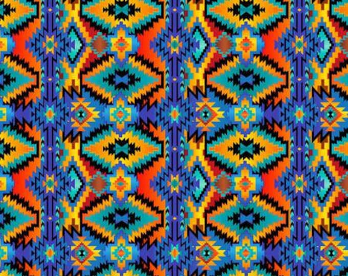 Southwestern Aztex Geo blue, yellow, and orange cotton woven fabric by Timeless Treasures