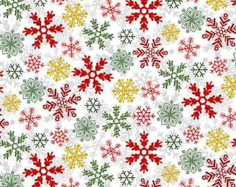 StudioE - Yuletide Cheer - Snowflakes on White #4725-1 Cotton Woven Fabric
