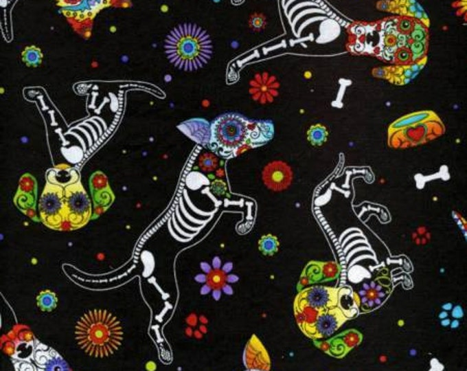 Timeless Treasures - Day of the Dead Dog on Black Cotton Woven