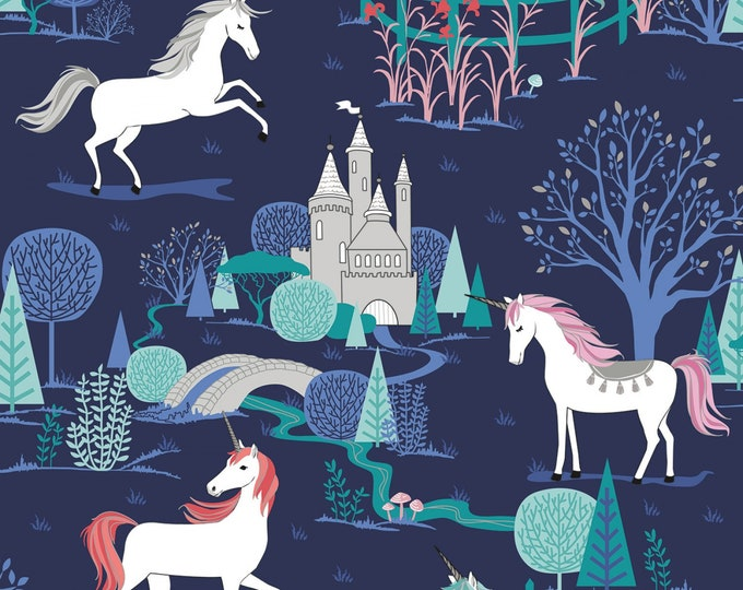 Riley Blake - My Unicorn by Kelly Panacci -Main Navy with Sparkle   #SC8200R-NAVY Cotton Woven Fabric