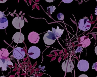 Stof Fabrics - Avalana Knits -Bigger Dots and Flowers in Purple on Black Ground - 19-193 Cotton/Spandex Knit