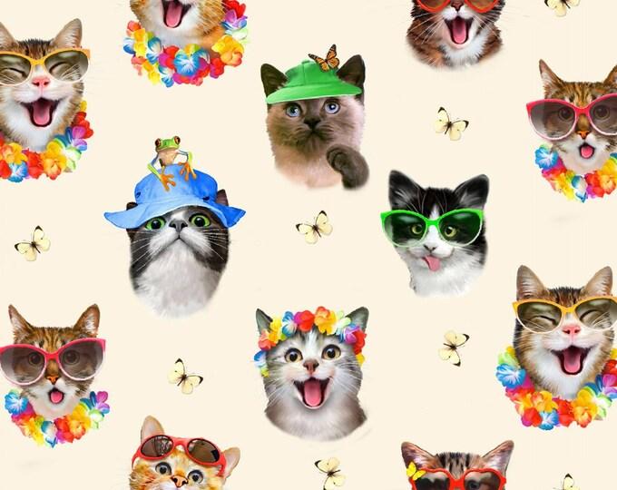 Cat Selfies in Cream  Cotton Woven Fabric