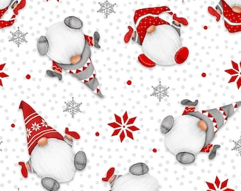 Henry Glass Fabrics - Winter Whimsy Flannel - White/Red Tossed Gnomes Flannel # F1623-08 - 100% Cotton Flannel