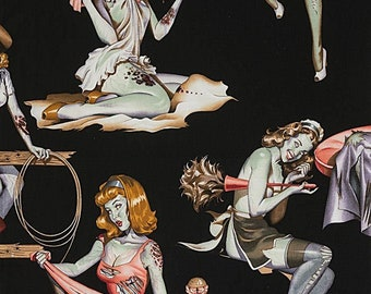 Alexander Henry Fabrics -  Haunted House  - 8431d Black Beauties with Brains  - Cotton Woven Fabric