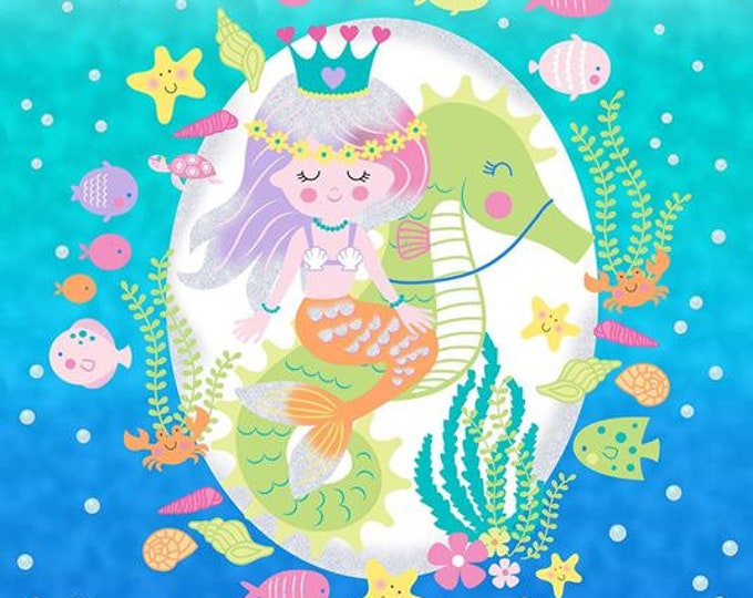 Mermaid Wishes with metallic accents cotton fabric panel