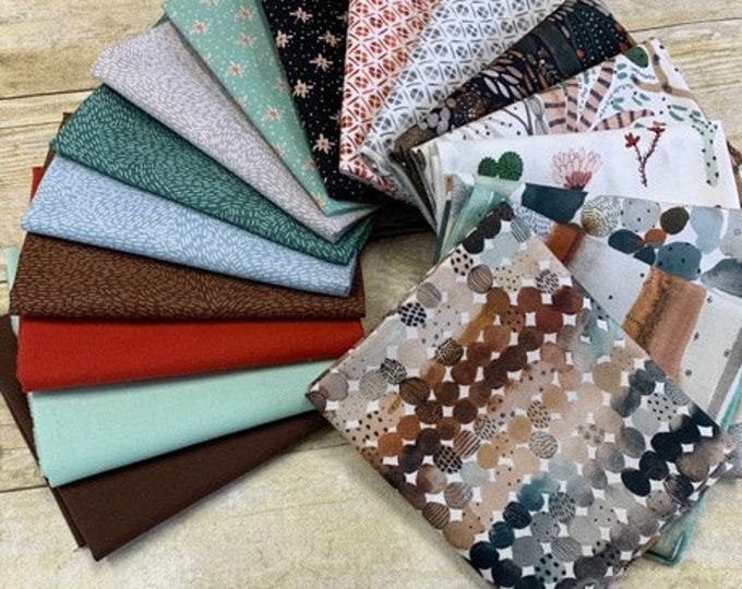"FIGO Fabrics - Desert Wildnerness - Fat Quarter (18"" x 22"") Bundle of 14 Prints + 3 solids - Cotton Woven Fabric"