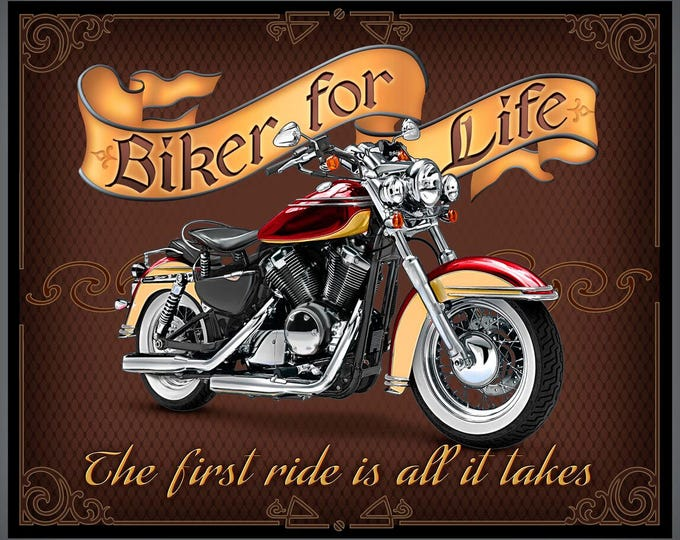 Biker for Life 24 Inch Panel Cotton Woven - Biker for Life by Quilting Treasures