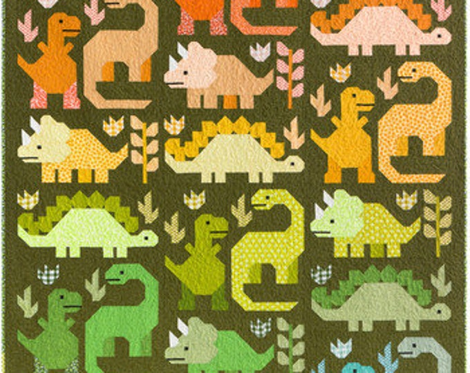 """Pattern - Dinosaurs # EH058  by Violet Craft  - Make a 69"""" x 85"""" large quilt with 24 dinosaurs or a 48"""" x 48"""" small quilt with 8 dinosaurs"""