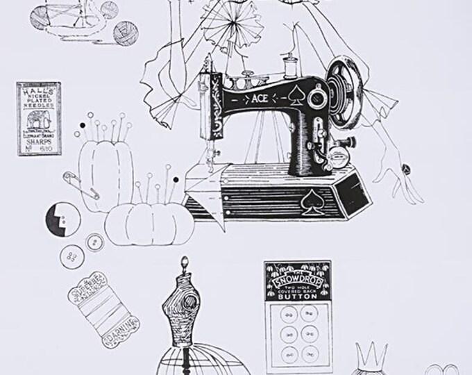Alexander Henry - A Ghastlie Craft - Black & White - Cotton Woven Fabric