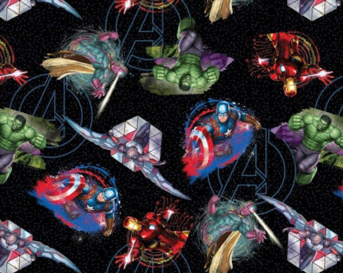 Springs Creative - Avenger and Logo on Black Cotton Woven Fabric