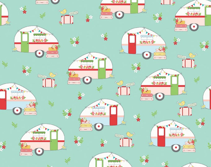 Riley Blake - Vintage Adventure   - Campers Aqua c7271 - Cotton Woven Fabric