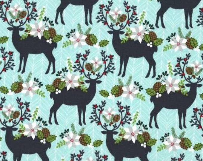 Michael Miller Fabrics - Rustique Winter -  Aqua Holiday Garden Buck Heads cotton woven fabric