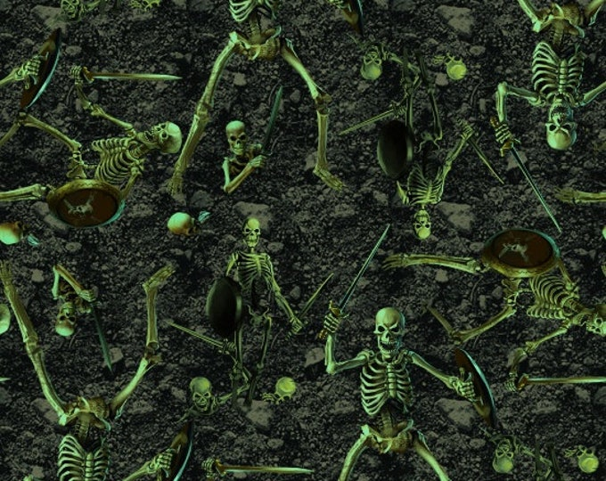 Blank Quilting - Fright Night Glow-In-The-Dark -  Skeletons Cotton Woven Fabric