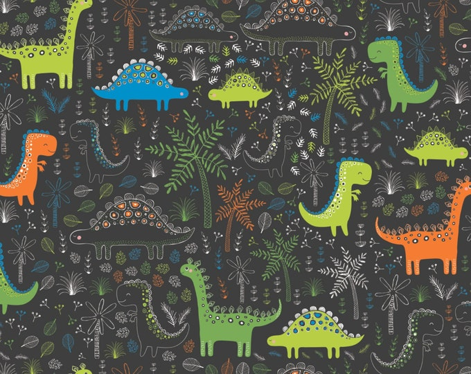 Camelot Fabrics - Roarsome - Carbon Dinosaurs in Forest Cotton Woven Fabric # 21180401-2