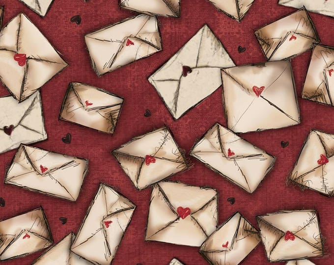 Quilting Treasures - Santoro's Gorjuss Letters from the Heart -  Envelopes on Cranberry Cotton Woven Fabric