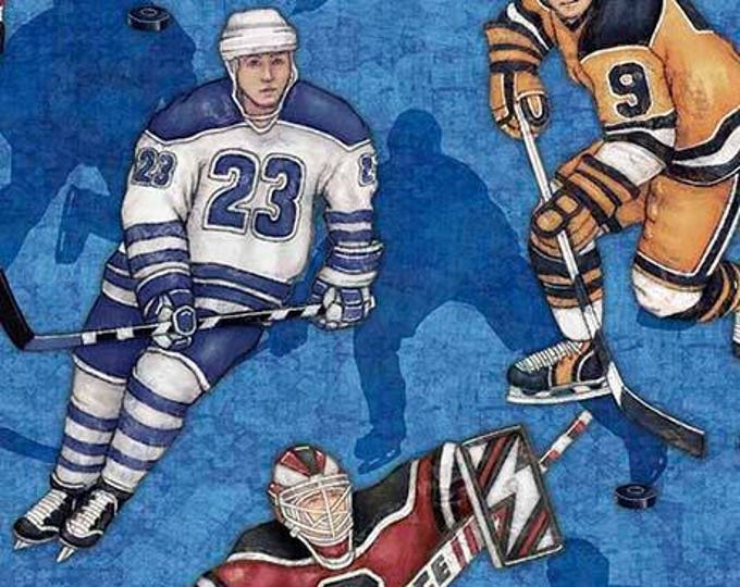 Quilting Treasures - Face Off by Dan Morris -  Hockey Players on Blue Cotton Woven