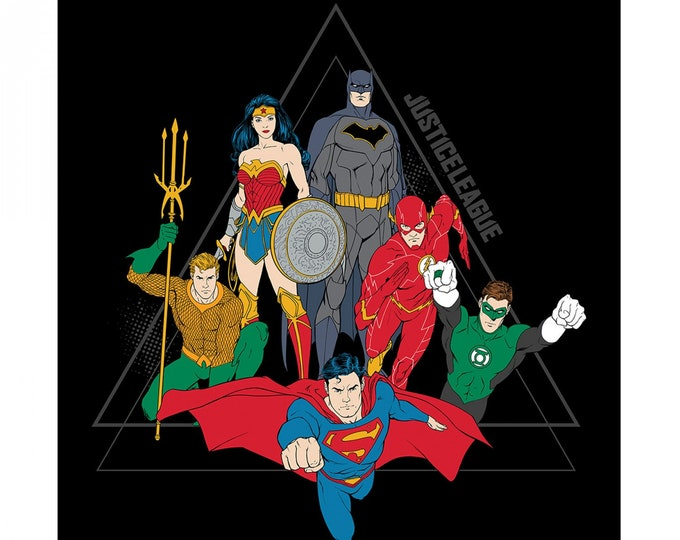 """Justice League Activated - Black Justice League Pyramid Panel 36"""" x 42""""   - Cotton Woven Fabric - Camelot"""