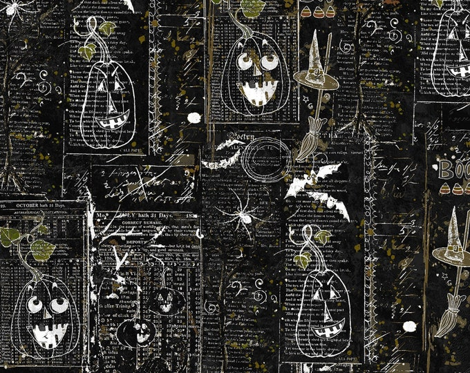 Clothworks - Something Wicked - Newsprint Collage in Black y2428-03 Cotton Woven Fabric