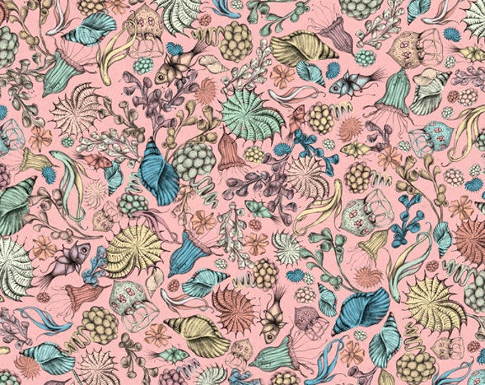 Quilting Treasures -  Midnight Garden by Mirabelle - Licensed by Santoro -   Pink Packed Flowers 26944P Cotton Woven Fabric