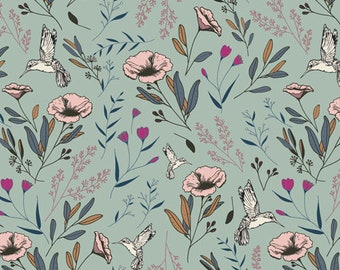 Art Gallery Fabric - Mystical Land -  #K 13968 1 Magic Fauna Waterfall - Cotton Spandex Knit
