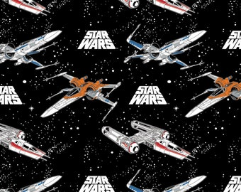 Camelot Fabrics - Licensed Star Wars - Space Battle Stars Black # 73090241-1 - Cotton Woven Fabric