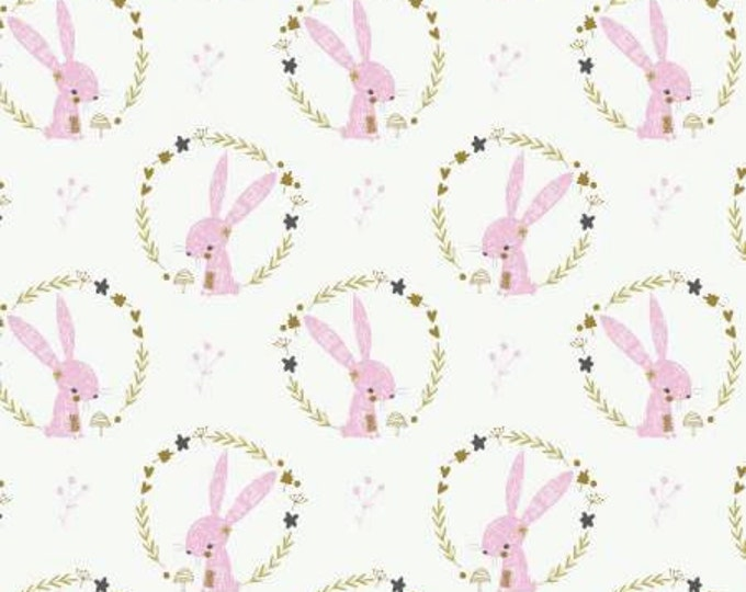 Camelot Fabric - Hello My Deer -  Bunny and Wreaths on White Cotton Woven Cotton Woven Fabric