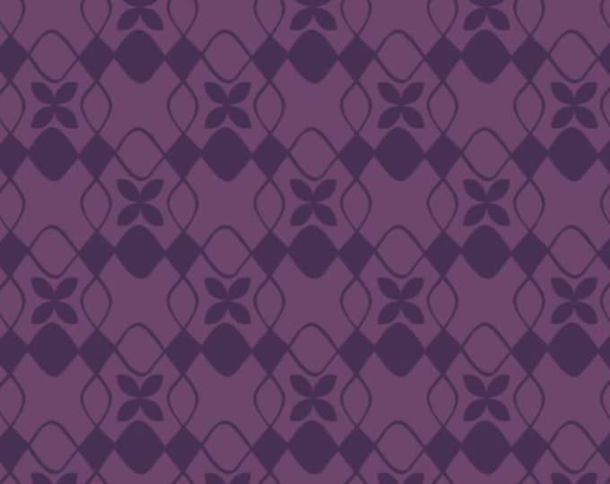 Camelot Fabrics - The Kitten's Meow - Purple Geo cotton woven fabric