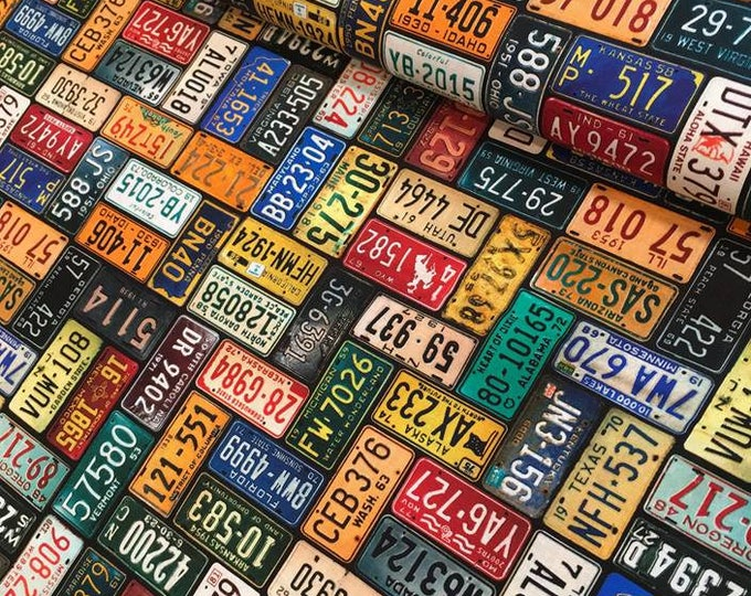 CLEARANCE -    ! License Plates cotton woven fabric - price per yard !