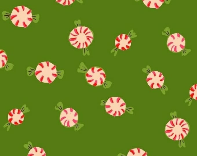 Windham Fabrics - Sugar Plum by Heather Ross - Peppermints - Green - Cotton Flannel Fabric