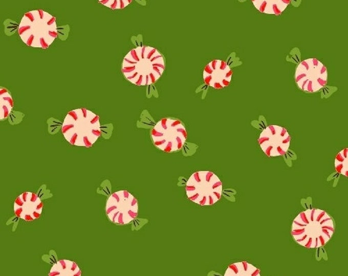 Heather Ross Sugar Plum - Peppermints - Green - Cotton Flannel